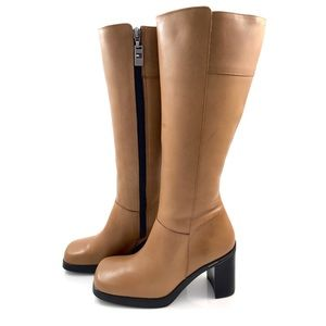 90's TOMMY HILFIGER tall tan leather boots